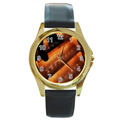 Magic Steps Stair With Light In The Dark Round Gold Metal Watch