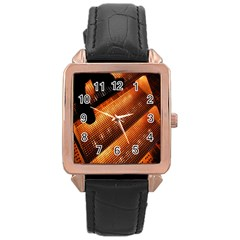 Magic Steps Stair With Light In The Dark Rose Gold Leather Watch