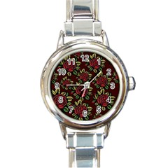 A Red Rose Tiling Pattern Round Italian Charm Watch