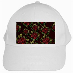 A Red Rose Tiling Pattern White Cap