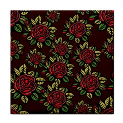 A Red Rose Tiling Pattern Tile Coasters