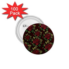 A Red Rose Tiling Pattern 1.75  Buttons (100 pack)