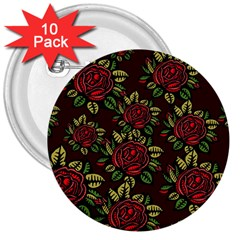 A Red Rose Tiling Pattern 3  Buttons (10 Pack)
