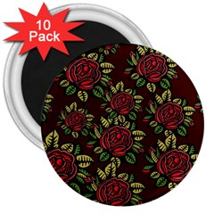A Red Rose Tiling Pattern 3  Magnets (10 pack)