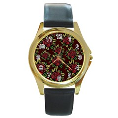 A Red Rose Tiling Pattern Round Gold Metal Watch