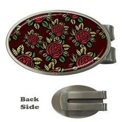 A Red Rose Tiling Pattern Money Clips (Oval)