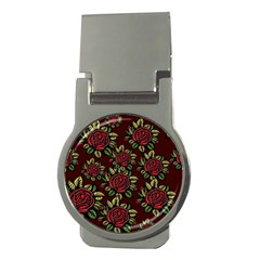 A Red Rose Tiling Pattern Money Clips (Round)