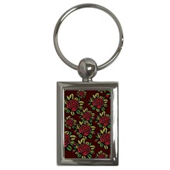 A Red Rose Tiling Pattern Key Chains (Rectangle)