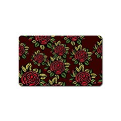 A Red Rose Tiling Pattern Magnet (Name Card)