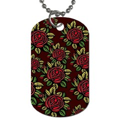A Red Rose Tiling Pattern Dog Tag (One Side)