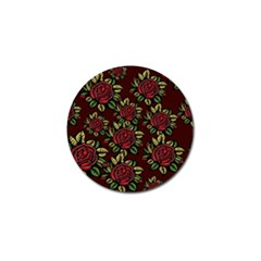 A Red Rose Tiling Pattern Golf Ball Marker (4 Pack)