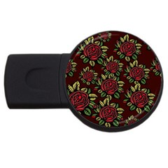 A Red Rose Tiling Pattern USB Flash Drive Round (2 GB)