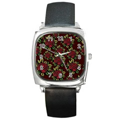 A Red Rose Tiling Pattern Square Metal Watch