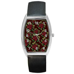 A Red Rose Tiling Pattern Barrel Style Metal Watch