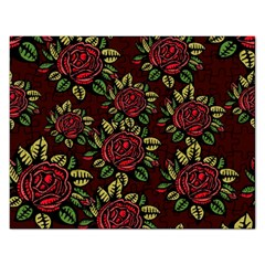 A Red Rose Tiling Pattern Rectangular Jigsaw Puzzl