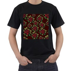A Red Rose Tiling Pattern Men s T Shirt (black) (two Sided)