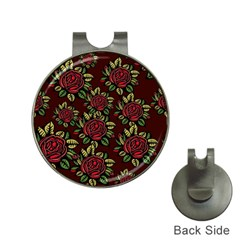 A Red Rose Tiling Pattern Hat Clips with Golf Markers