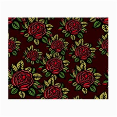 A Red Rose Tiling Pattern Small Glasses Cloth