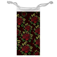 A Red Rose Tiling Pattern Jewelry Bag