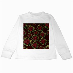 A Red Rose Tiling Pattern Kids Long Sleeve T-Shirts