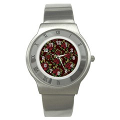 A Red Rose Tiling Pattern Stainless Steel Watch