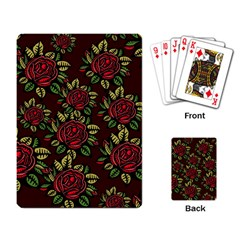 A Red Rose Tiling Pattern Playing Card