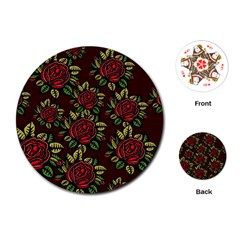 A Red Rose Tiling Pattern Playing Cards (Round)