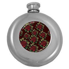 A Red Rose Tiling Pattern Round Hip Flask (5 oz)
