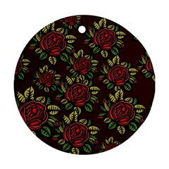 A Red Rose Tiling Pattern Round Ornament (Two Sides)