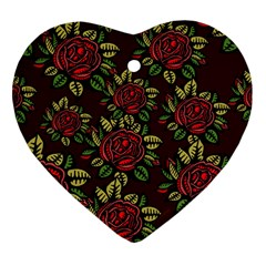 A Red Rose Tiling Pattern Heart Ornament (Two Sides)