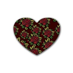 A Red Rose Tiling Pattern Heart Coaster (4 Pack)