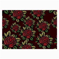 A Red Rose Tiling Pattern Large Glasses Cloth