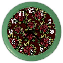 A Red Rose Tiling Pattern Color Wall Clocks