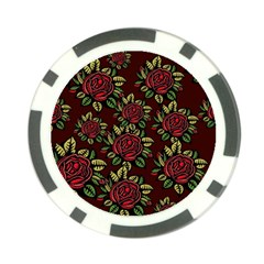 A Red Rose Tiling Pattern Poker Chip Card Guard (10 Pack)
