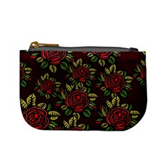 A Red Rose Tiling Pattern Mini Coin Purses
