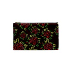 A Red Rose Tiling Pattern Cosmetic Bag (Small)