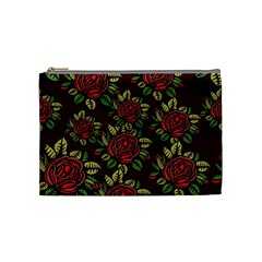 A Red Rose Tiling Pattern Cosmetic Bag (medium)