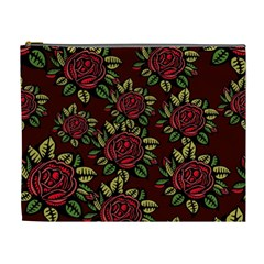 A Red Rose Tiling Pattern Cosmetic Bag (XL)