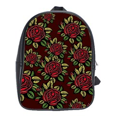 A Red Rose Tiling Pattern School Bags(large)