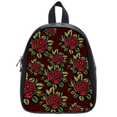 A Red Rose Tiling Pattern School Bags (small)