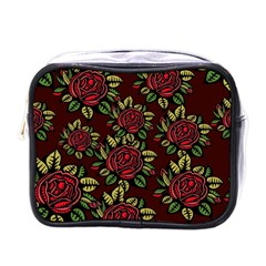 A Red Rose Tiling Pattern Mini Toiletries Bags