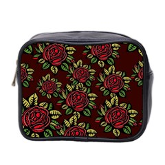 A Red Rose Tiling Pattern Mini Toiletries Bag 2 Side