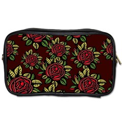 A Red Rose Tiling Pattern Toiletries Bags