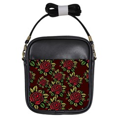 A Red Rose Tiling Pattern Girls Sling Bags