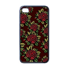 A Red Rose Tiling Pattern Apple Iphone 4 Case (black)