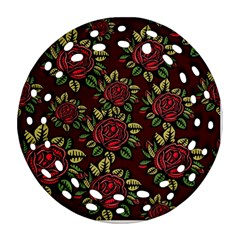 A Red Rose Tiling Pattern Round Filigree Ornament (Two Sides)