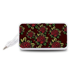 A Red Rose Tiling Pattern Portable Speaker (White)