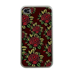 A Red Rose Tiling Pattern Apple Iphone 4 Case (clear)