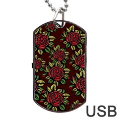A Red Rose Tiling Pattern Dog Tag Usb Flash (one Side)