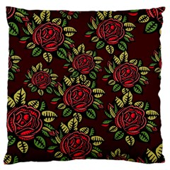 A Red Rose Tiling Pattern Large Cushion Case (Two Sides)